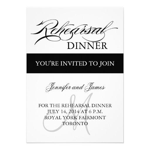 Rehearsal Dinner Invitations Black White Monogram