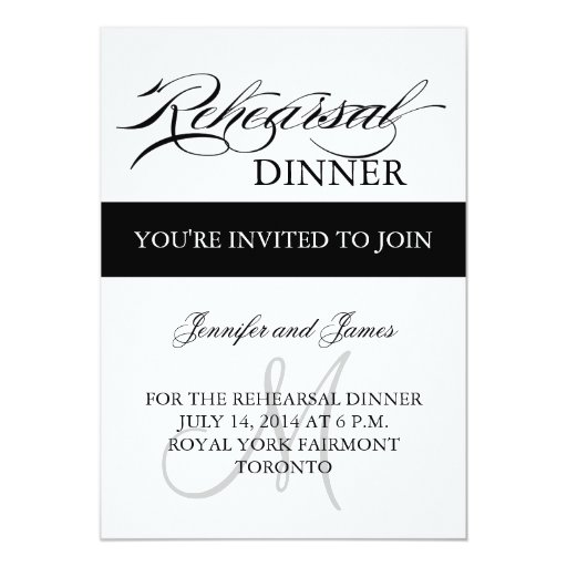 Rehearsal Dinner Invitations Black White Monogram