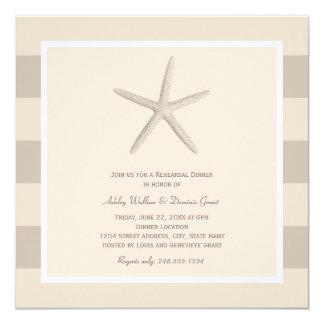 "Rehearsal Dinner Invitations | Neutral Starfish 5.25"" Square Invitation Card"