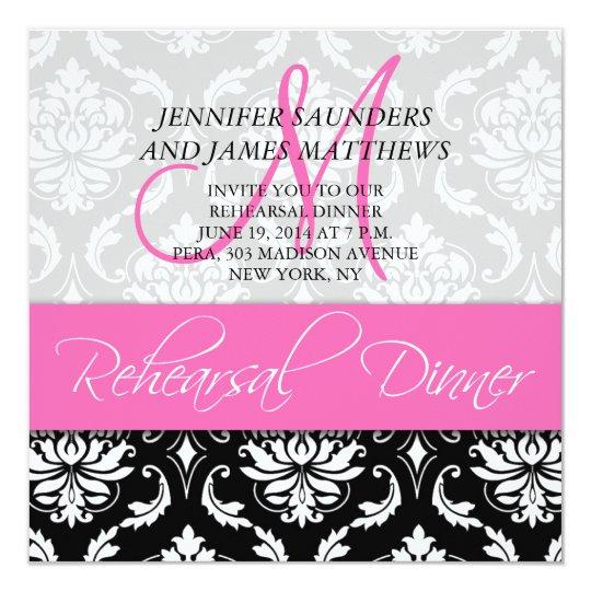 Rehearsal Dinner Invite Damask Monogram Hot Pink