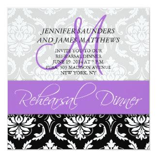 Rehearsal Dinner Invite Damask Monogram Lavender