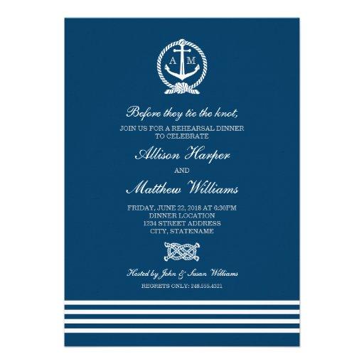 Rehearsal Dinner Invites   Nautical Stripes Theme