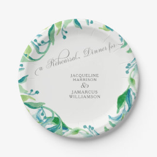 Rehearsal Dinner Laurel Leaf  Olive Watercolor Paper Plate