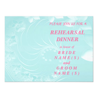 Rehearsal Dinner - Light Blue Abstract Flowers 6.5x8.75 Paper Invitation Card