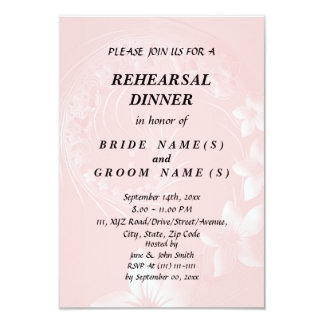 """Rehearsal Dinner - Light Pink Abstract Flowers 3.5"""" X 5"""" Invitation Card"""