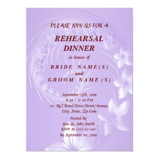 Rehearsal Dinner - Light Violet Abstract Flowers Card