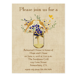 Rehearsal Dinner Mason Jar Wild Flower Love Birds Postcard