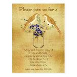 Rehearsal Dinner Mason Jar Wild Flower Love Birds Postcards