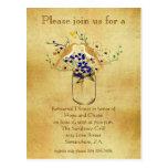 Rehearsal Dinner Mason Jar Wild Flower Love Birds Post Cards