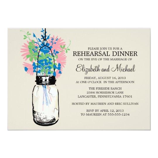 Rehearsal Dinner Mason Jar Wildflowers Card