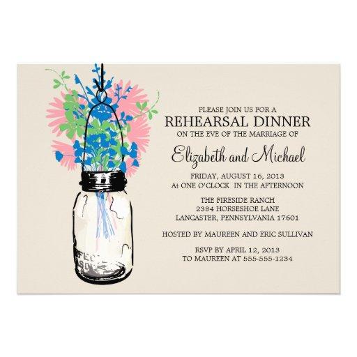 Rehearsal Dinner Mason Jar Wildflowers Invitation
