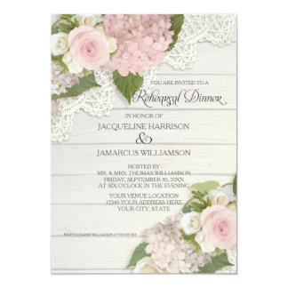 Rehearsal Dinner Modern Rustic Country Floral Rose Card