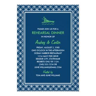 Rehearsal Dinner | Navy and Green Nautical Theme Card