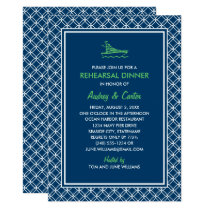 Rehearsal Dinner | Navy and Green Nautical Theme Invitation