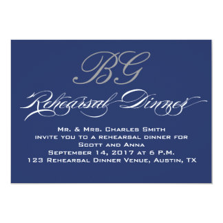 Rehearsal Dinner | Navy Blue Grey Initials Personalized Announcement