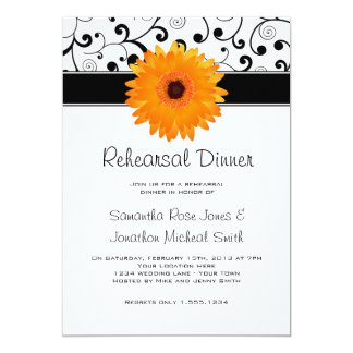 Rehearsal Dinner Orange Gerbera Daisy Black Scroll Card