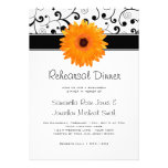 Rehearsal Dinner Orange Gerbera Daisy Black Scroll Personalized Invite