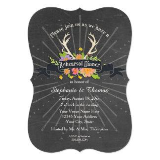 Rehearsal Dinner Party Antler Wildflower Starburst 5x7 Paper Invitation Card