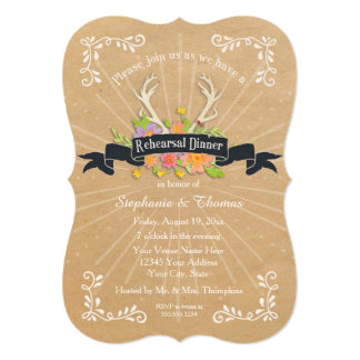 Rehearsal Dinner Party Antler Wildflower Starburst Card