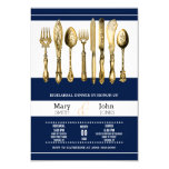 Rehearsal dinner party navy gold card