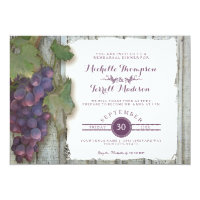 Rehearsal Dinner Party Red Wine Wood Fence Theme Invitation