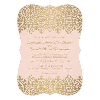 Rehearsal Dinner Party Vintage Golden Lace Elegant Announcements