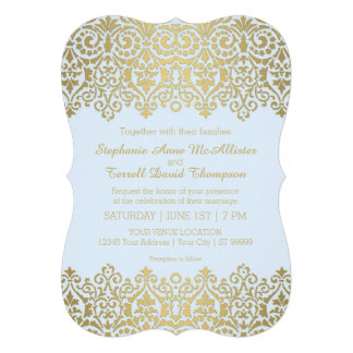 Rehearsal Dinner Party Vintage Golden Lace Elegant Invitations