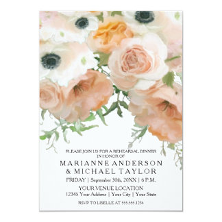 Rehearsal Dinner Pastel Petals English Rose Flower Card