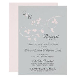 REHEARSAL DINNER Pastel Rose Pink Grey Wedding Card