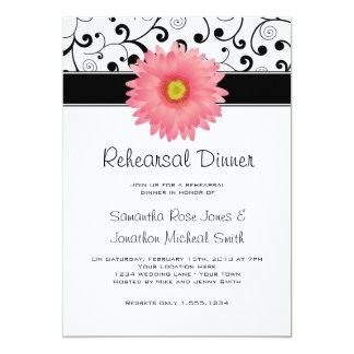 Rehearsal Dinner Pink Gerbera Daisy Black Scroll Card