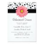 Rehearsal Dinner Pink Gerbera Daisy Black Scroll 5x7 Paper Invitation Card