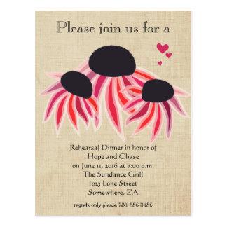Rehearsal Dinner Pink Purpl Wild Flower Floral Postcard