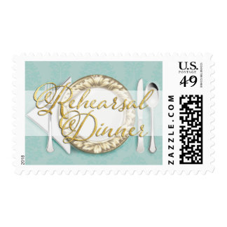 Rehearsal Dinner Place Setting Aqua Postage Stamp