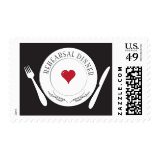 Rehearsal Dinner Plate with Heart Postage