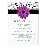 Rehearsal Dinner Purple Gerbera Daisy Black Scroll Card