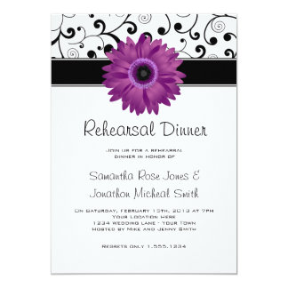 Rehearsal Dinner Purple Gerbera Daisy Black Scroll Card