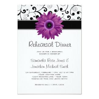 Rehearsal Dinner Purple Gerbera Daisy Black Scroll Invite
