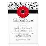Rehearsal Dinner Red Gerbera Daisy Black Scroll 5x7 Paper Invitation Card