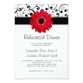 Rehearsal Dinner Red Gerbera Daisy Black Scroll Card