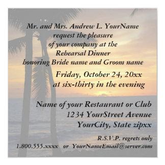 "Rehearsal Dinner Romantic Beach Sunset 5.25"" Square Invitation Card"