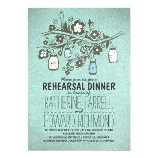 Rehearsal dinner rustic blue floral mason jars card