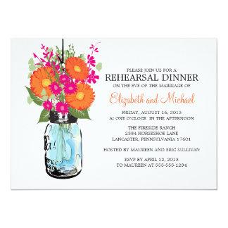 Rehearsal Dinner Rustic Mason Jar Gerber Daisies Card