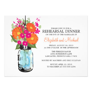 Rehearsal Dinner Rustic Mason Jar Gerber Daisies Personalized Invites