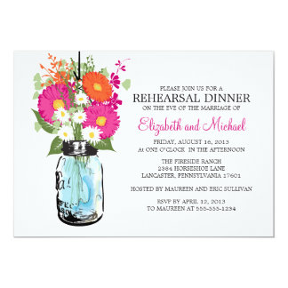 "Rehearsal Dinner Rustic Mason Jar Gerber Daisies 5"" X 7"" Invitation Card"