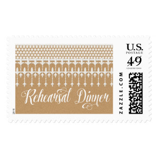 Rehearsal Dinner Rustic Vintage Lace Kraft Paper Postage