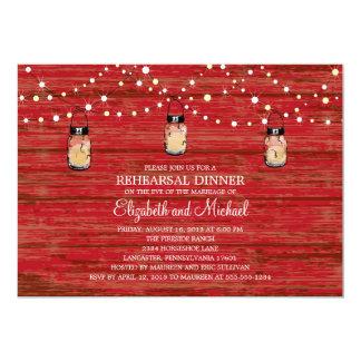 Rehearsal Dinner Rustic Wood Mason Jar and Lights 5x7 Paper Invitation Card