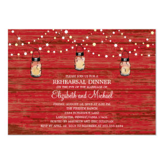 Rehearsal Dinner Rustic Wood Mason Jar and Lights 5x7 Paper Invitation Card