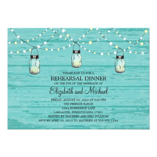 Rehearsal Dinner Rustic Wood Mason Jar and Lights Custom Invite