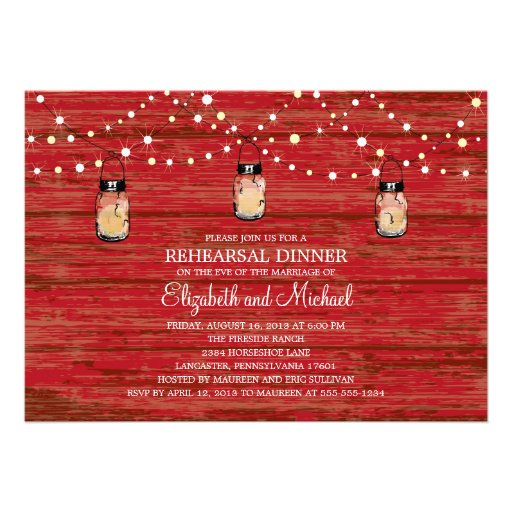 Rehearsal Dinner Rustic Wood Mason Jar and Lights Invitation