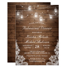 Rehearsal Dinner Rustic Wood Mason Jar Lights Lace Card at Zazzle